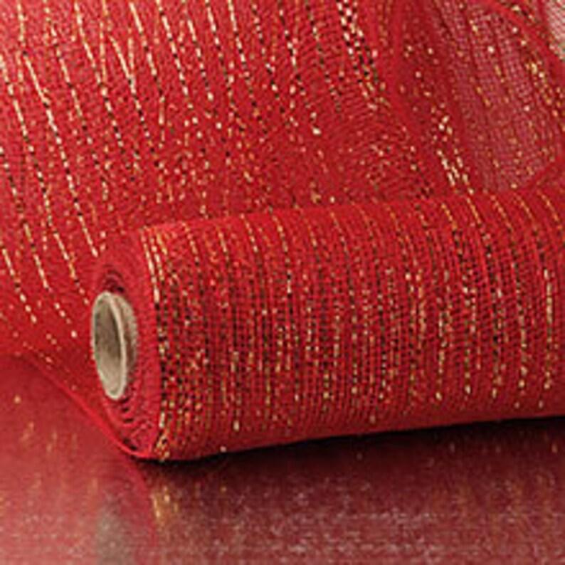 Red Gold Thread Metallic 21 Deco Mesh