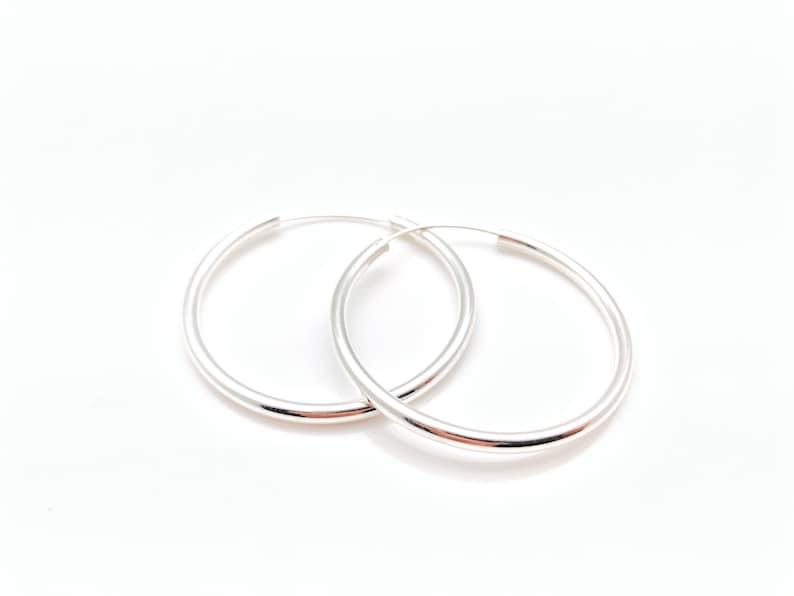 Medium 40mm Endless Hoop Earrings 2.5mm Gage Medium 40mm x 2.5mm Silver Hoops 40mm Sterling Silver Hoops Continuous Hoops 40mm