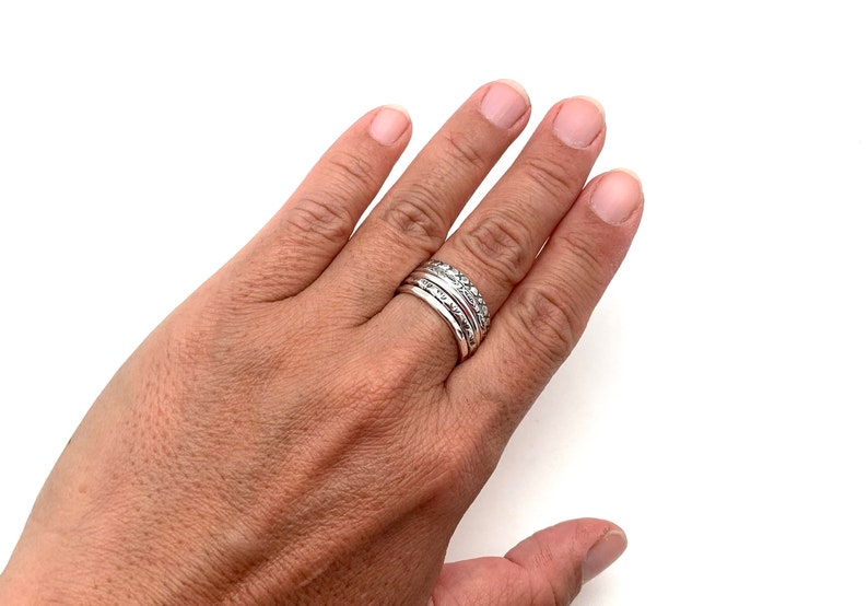 Multi Silver Ring size 8  Five Tribal Silver Ring Set  Five Band Set  Hammered Textured Silver Ring  Meditation  925 Sterling Silver