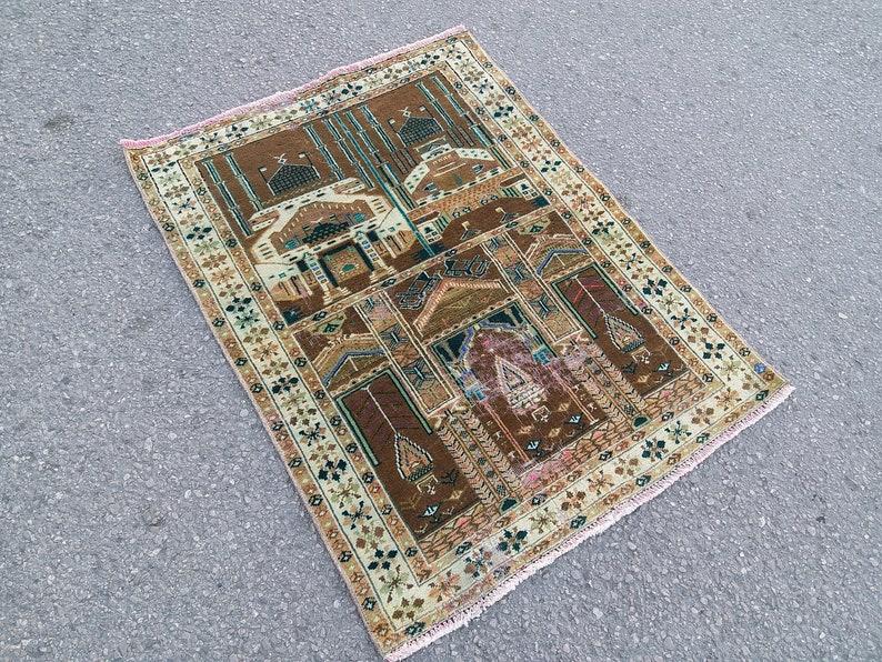 Small Area Rug 2.9x3.8 ft,vintage Persian rug,colorful rug,distressed rug,Moroccan rug,Bohemian rug,small rug runner,Brown Turkish Rug