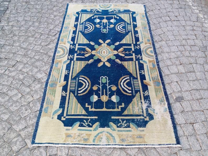 Blue Vintage Rug 3.8x6.7 ft,colorful rug,large turkish rug,boho decor,hand woven rug,large area rug,turkish runner,blue oushak rug,aztec rug