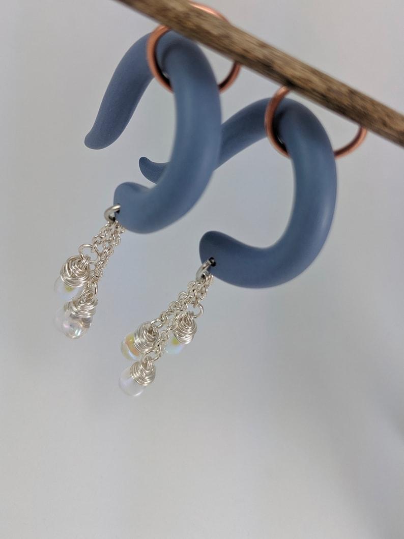 Lightweight Earrings Dangle Gauges Gauged Jewelry Handmade Clay Gauges Iridescent Teardrop Glass Beads Raindrop Gauges Wire Wrapped