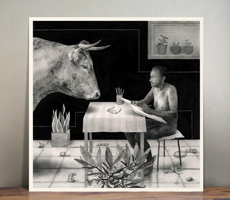 El Matador  illustration  wall art  art print  black and image 0