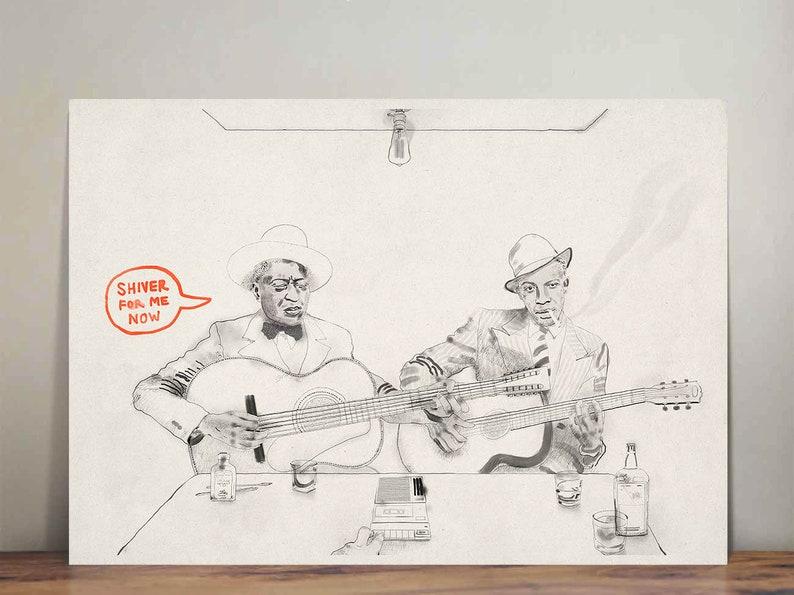 Leadbelly and Robert Johnson  Blues  musicians  wall art  image 0