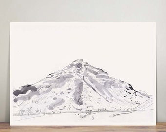 Skógafoss - Icelandic volcano - print - wall art - mountain - nature illustration - ink drawing - landscape - peaceful - zen