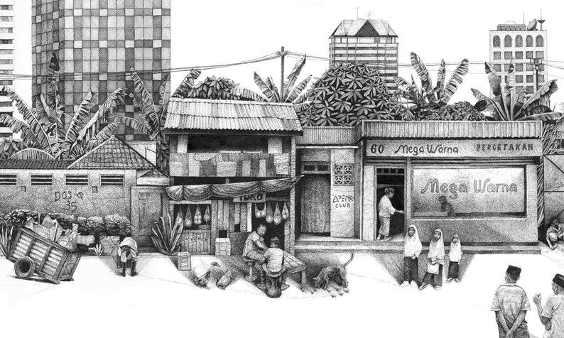 Indonesia  Jakarta  pen and ink  illustration  wall art  image 0