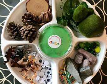 Jungle Animal Play Tray | Montessori | Loose Parts | Open Ended Play | Playdough