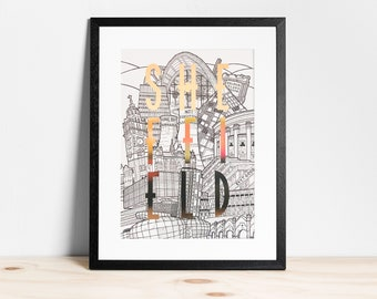 Sheffield Cityscape (Gold Foil) - A3 Print | Yorkshire Wall Art | Home Decor | Typography | Illustration | City | Travel