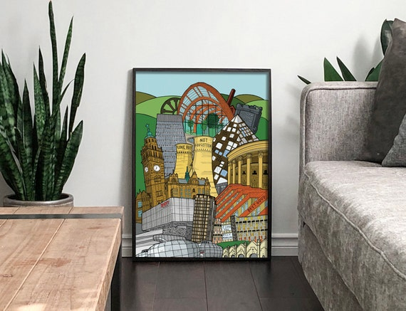 Sheffield Cityscape Print In Colour Featuring Sheffield Etsy