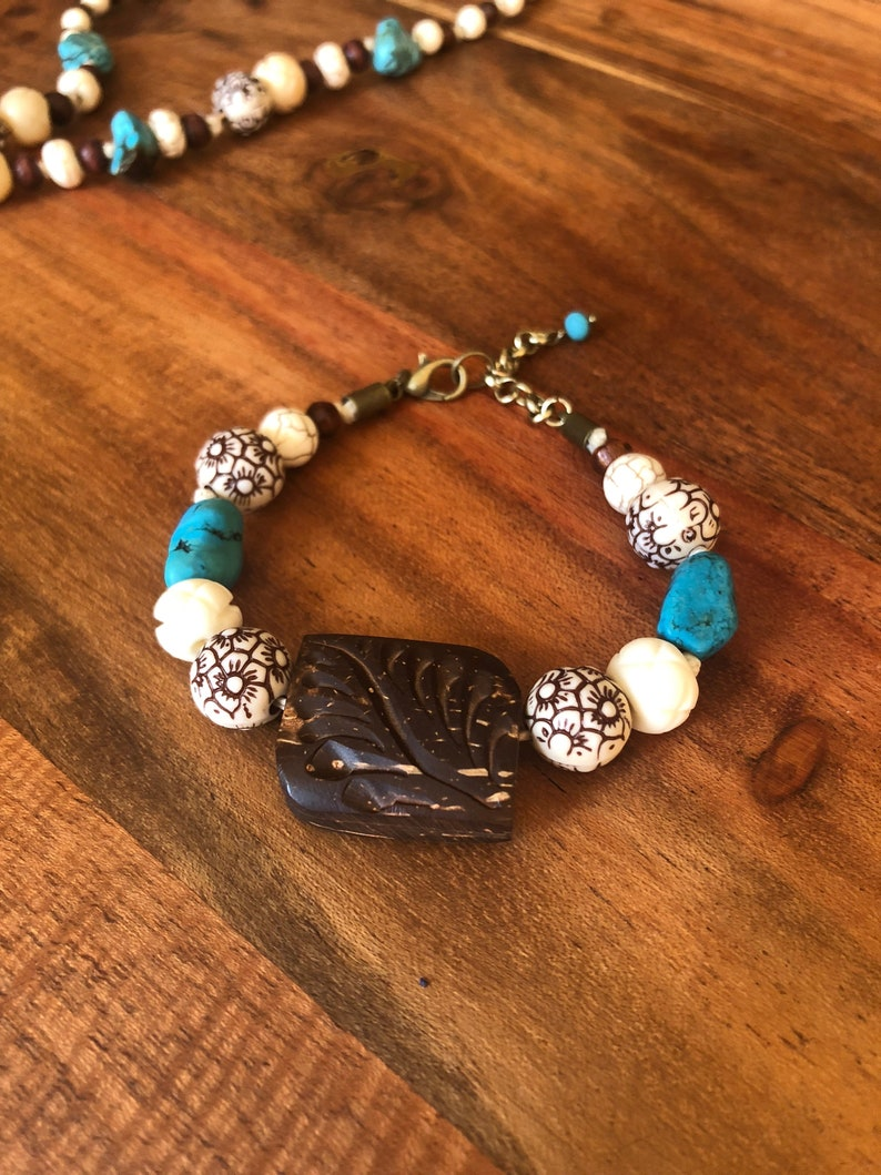 Etched Wood Bracelet With Ornate Accent Beads Hemp Cord Wood Bead Stone Pendant