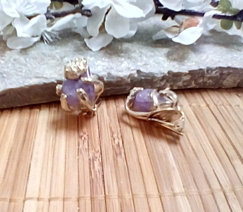 Earrings Polished Amethyst Stones in Silver Tone Cages  Clip on Earrings
