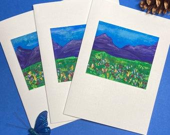 Mountain Wildflowers - Original Art Folded Notecards (sets of 3)