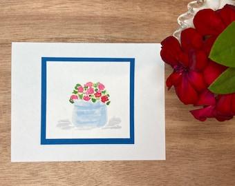 Pot of Geraniums Original Art Cards (sets of 3), notecards