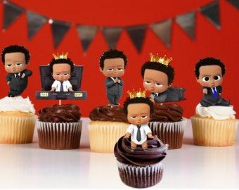 Curly African American Boss Boy Baby Birthday Kit Print Etsy