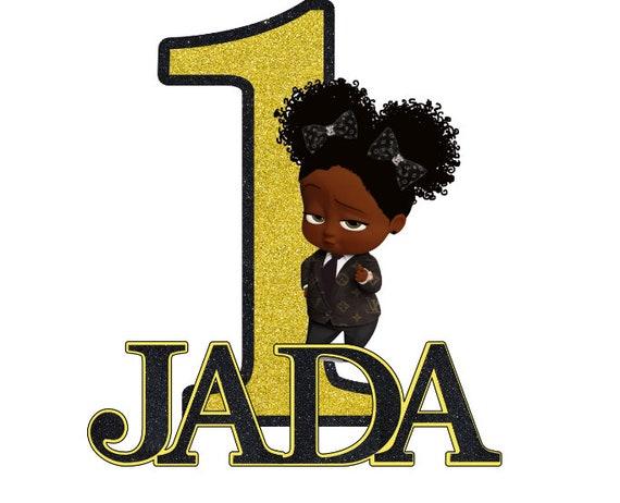 African American Girl Boss Baby Lv Inspired Cake Topper Black Lv Boss Baby Girl Party Supplies