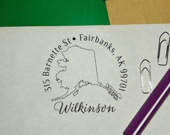 housewarming parties and weddings rubber stamp perfect gift for holidays Custom Alaska State Return Address Stamp