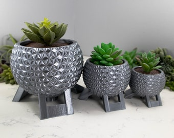 Silver Walt Disney World Epcot Spaceship Earth Inspired Planter for Succulents 3D Printed