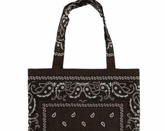 Dark Brown Bandana Tote Bag