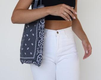 Grey Bandana Tote Bag