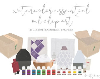 Watercolor Clip Art   Young Living Premium Starter Kit Clip Art   Essential Oil Clip Art