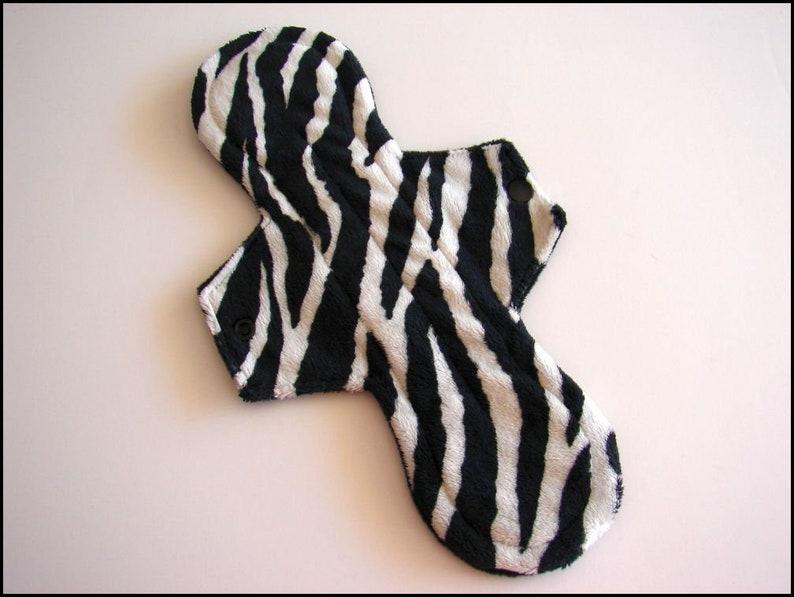 11.5 Heavy Flow Minky Cloth Pad Zebra Size 1 Reusable Cloth Menstrual Pad