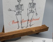 Set of Six Halloween Skeleton Letterpress Postcards