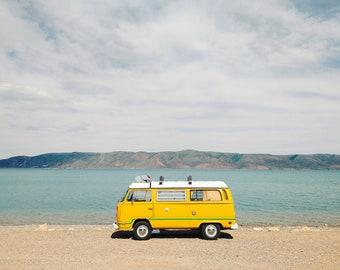 VW Van and Bear Lake. Fine Art Photograph