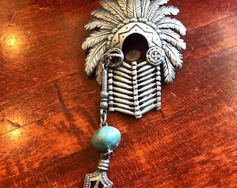 Vintage Native American Bracelet  Silver Tone Genuine Onyx Images of Teepee Buffalo Headdress Tomahawk Original Box /& Card