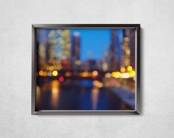 City Lights - Chicago at Night -Bokeh Photography - Fine Art Photography - Photographic Print