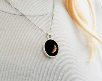 Moon Necklace - Waning Crescent - Moon Phases - Space Night Sky Photography - Nature Photography - Photographic Necklace