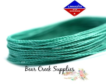 5m Teal waxed cord 1mm jewelry supplies