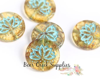 50 pcs 4192 4mm Czech Round Glass Beads Turquoise Patina Honey Etched