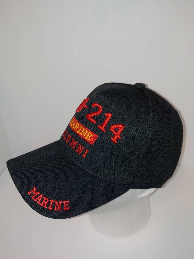 WMarine on Brim and on Back DD-214 Marine Alumni Black Baseball caphat