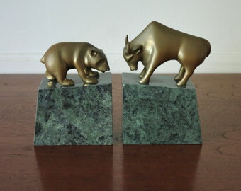 Marble bookends with animal Marble with bronzeEagle lover giftUseful gift for office Vtg Bookends with American Eagle in Green onyx base