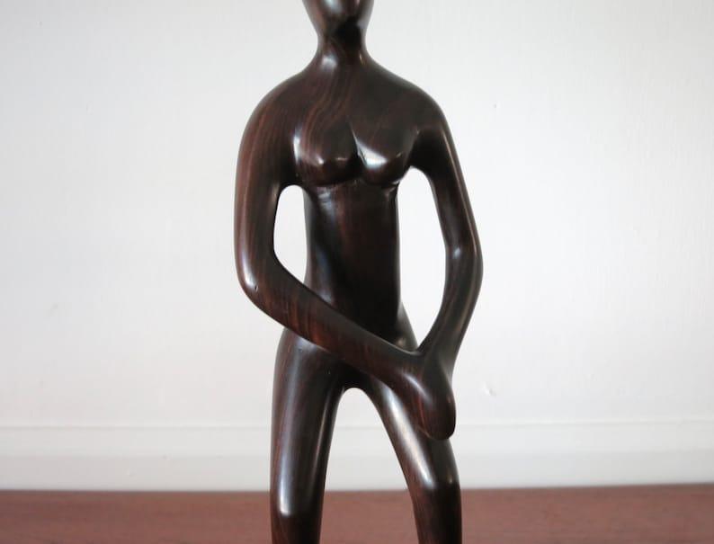 Vintage Ironwood Female Sculpture Modernist Woman Wooden Form Sculpture Handmade