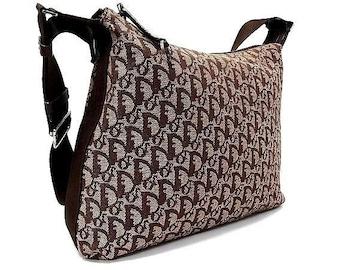 Vintage CHRISTIAN DIOR Monogram Trotter Brown Canvas Crossbody Bag  Messenger  Bag 14e9055668