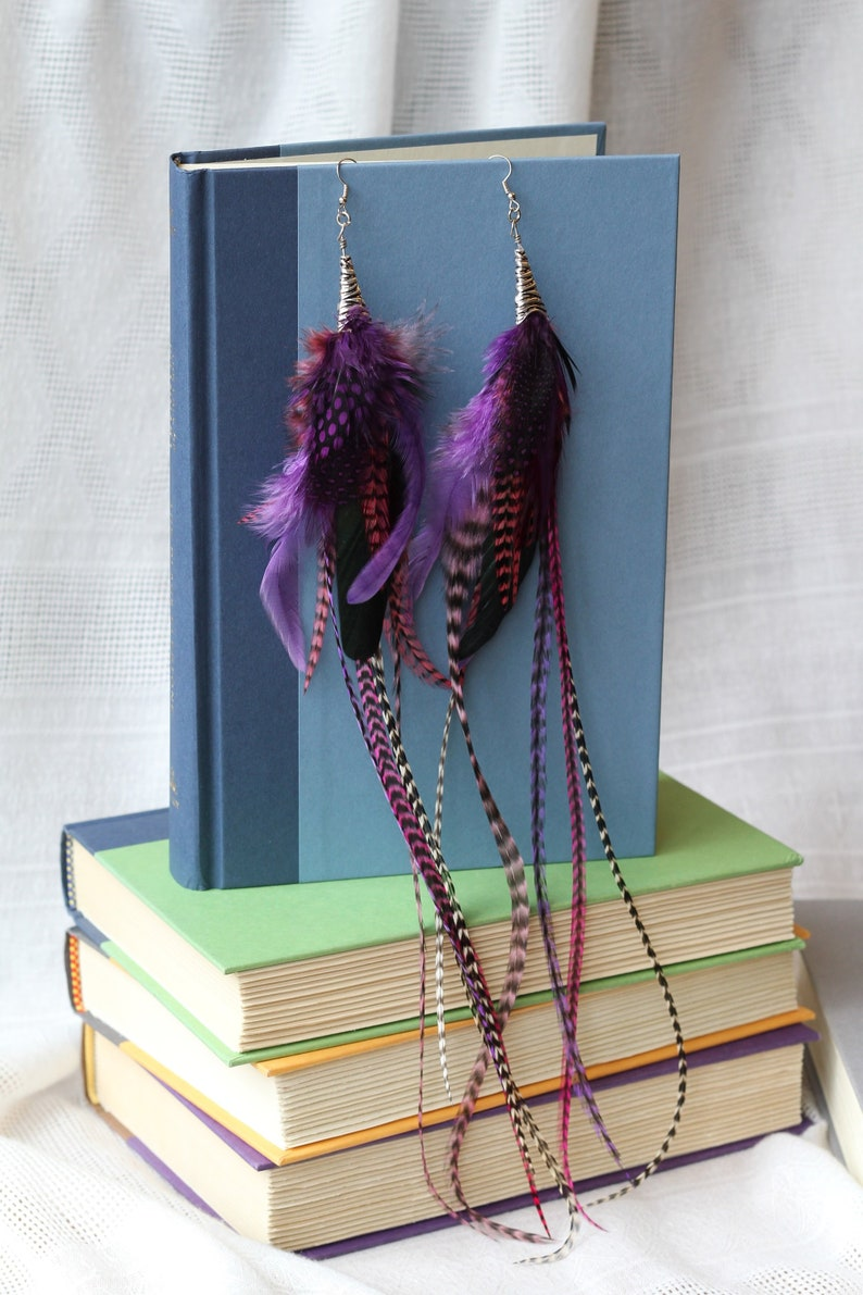 Purple and Grizzley rooster feathers Long Feather Earrings