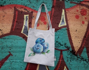 7c2ec9174f Handmade cotton tote bag with blueberries illustration, original painting  on cotton bag