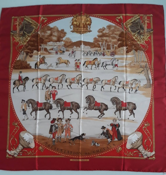 Luxury collectible Hermes. Vintage silk red shawl