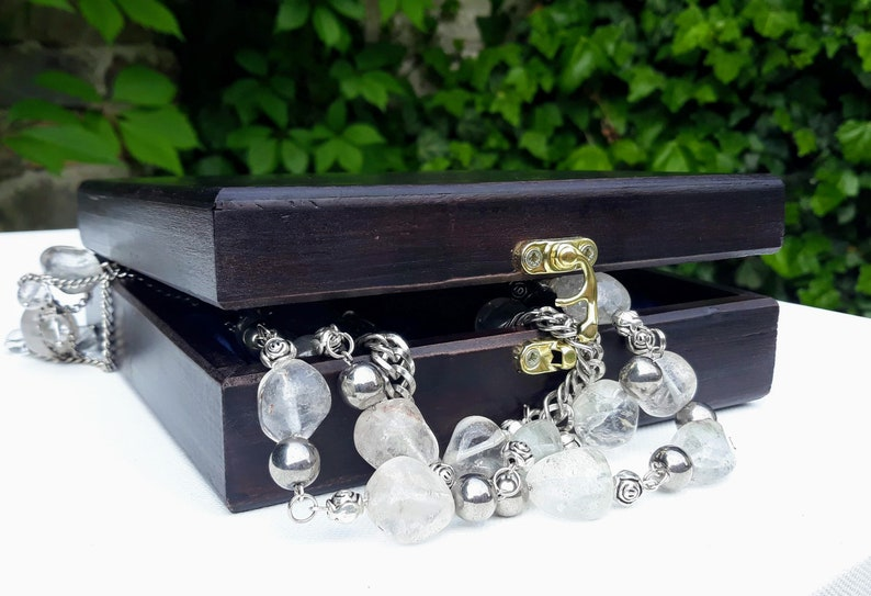 Rock crystal /& metal jewelryMagnificent set of necklaces bracelet and earringsBridal JewelleryLeo gemstone jewelryAstrological LeoOOAK