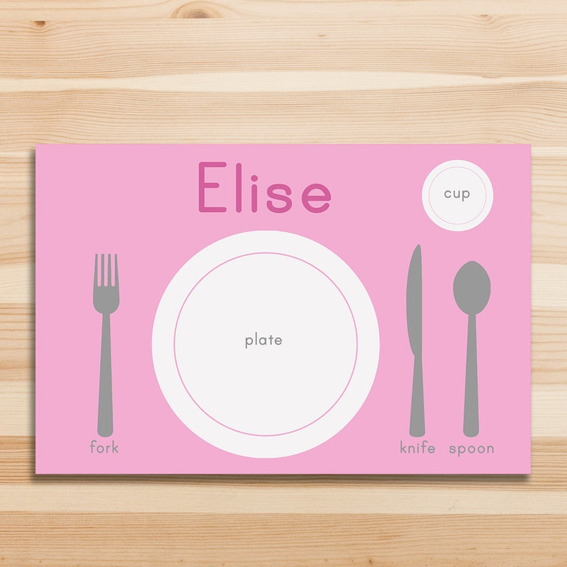image about Printable Placemats for Preschoolers named Custom made reputation little ones printable placemat 11 x 17 Montessori placemat  preschool Space atmosphere handy everyday living abilities electronic obtain