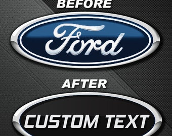 Custom Text Or Logo Ford Oval Emblem Overlay Inlay Insert Cover Vinyl Decal Sticker
