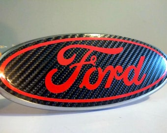 Ford Carbon Fiber Color Oval Emblem Overlay Decal Badge Sticker Inlay Insert Front Rear Any Year Model