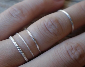 Sterling silver teeny tiny stacking ring  Ultra thin stacking ring Everyday jewelry