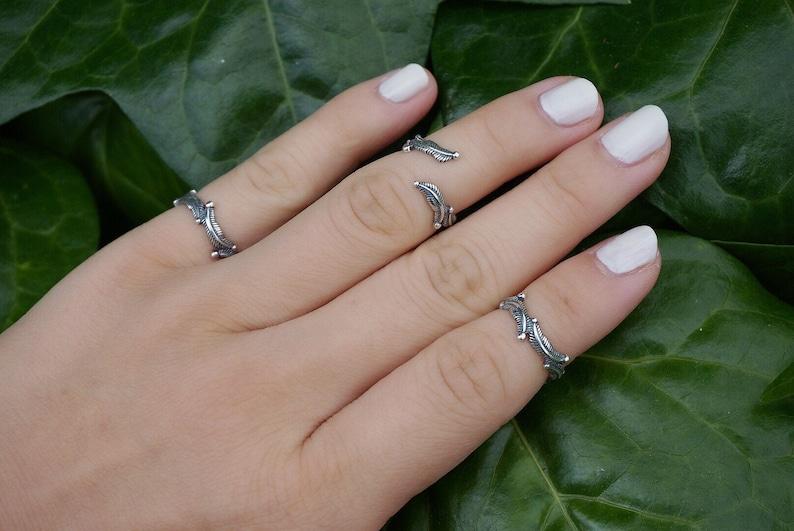 Sterling silver Feather Midi ringfeather ringadjustable ringtoe ringknuckle ringsterling silver ringmidi ringopen ring