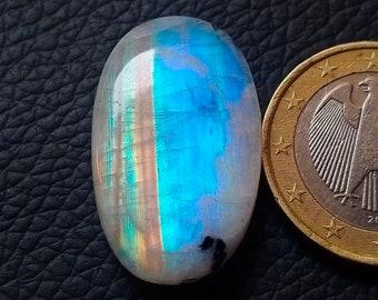 Round Shape Cabochon weight 18.30 crt Rainbow Moonstone Amazing Flashy Fire Size 17x17 mm Good Quality