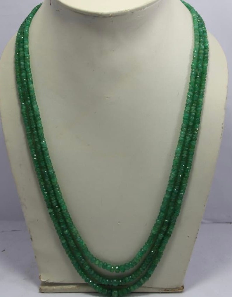 100/%Natural Emerald cutting Beads nakelace per stand 3to5mm 14to18 inch approx