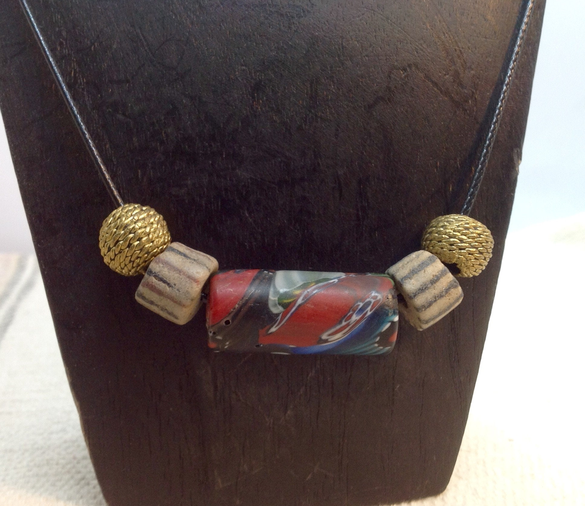 African and Nepalese beads on a cord necklace for men or women