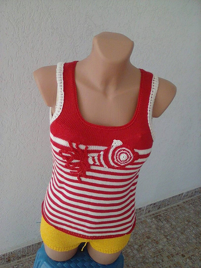 Knitted Sweater vest clothing summer. stripes color red print appligue fish cotton sweater vest sleeveless sweater