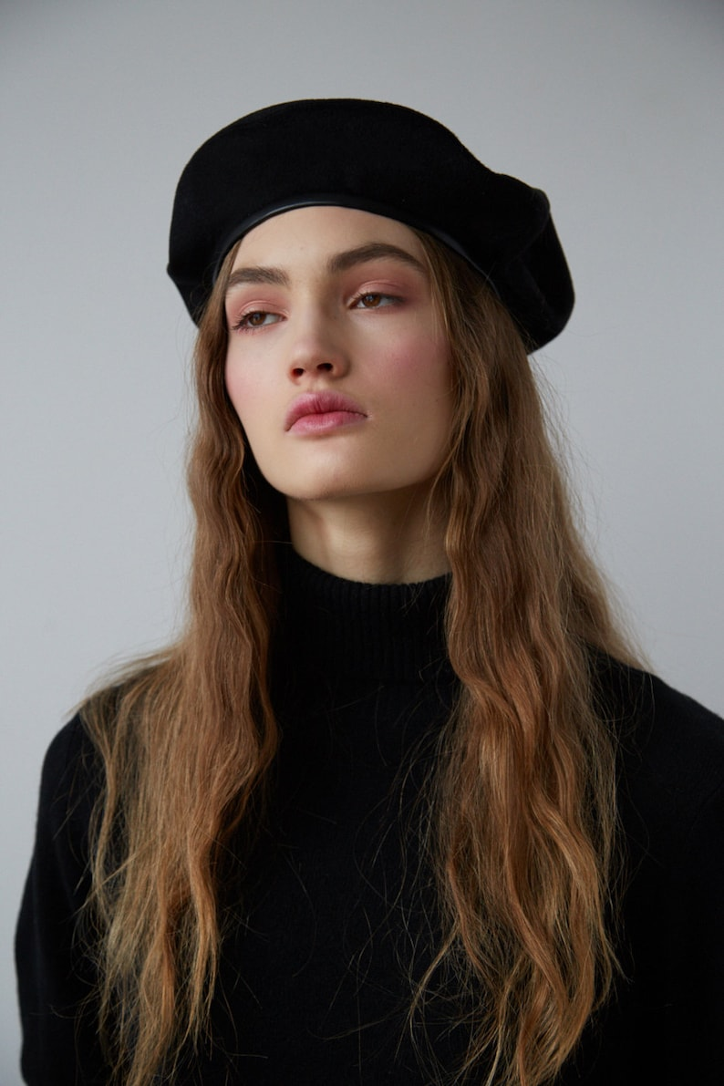 e3ffaab7cc83b Black cashmere beret with text embroidery and faux leather